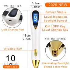 2020 Laser Mole Removal Pen Set Wart Plasma Remover Tool Repair Skin Care Pore Corn Freckle Dark Tag Nevus Sweep Age Spot Tattoo
