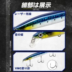 D1 XM-140N black MINNOW FISHING LURE SUSENDING LURE 145MM 23.5G Swing stroke Special gravity system DT5002