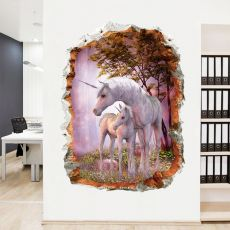 3D Unicorn Wall Stickers Living Room Bedroom Children's Room Wallpaper Decorative Painting Green Wallpaper Sticker Mural
