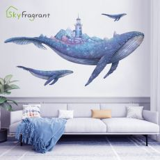 Creative wall sticker fantasy whale home stikers kids room decoration home decor self-adhesive bedroom living room wall decor