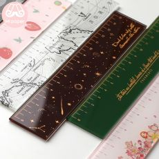 Mr paper 6 Designs 15cm Strawber Acrylic Color Ruler Multifunction DIY Drawing Rulers For Kids Students Office School Stationery