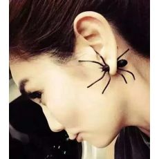 2016 Hot Fashion 1Piece 3D Creepy Black Spider Ear Stud Earrings Hot Selling Unique Punk Earrings For Women Halloween Gifts