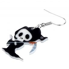 Bonsny Acrylic Halloween Anime Death Skull Reaper Earrings Drop Dangle Festival Decorations For Lady Girls Teens 2019 Charm Gift