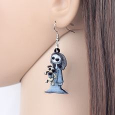 Bonsny Acrylic Halloween Dark Smile Doll Toy Earrings Dangle Drop Hoops Ghost Jewelry For Women Girl Party Costumes Charms Gift