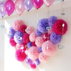 "Holiday Supplies 10"" (25cm) Fluffy Tissue Paper Pom Poms Hanging Rose Flower Balls Garlands Wedding Baby Shower Party Decoration"