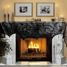 OurWarm Halloween Decoration Horror Props Lace Spiderweb Fireplace Mantle Scarf Cover Tablecloth Curtain Cosplay Party Supplies