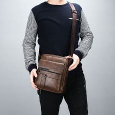 JEEP BULUO Man Leather Bag Shoulder Crossbody Bags For Men Cow Split Leather Male iPad Business Messenger Bag Drop Shipping