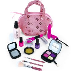 Girls Make Up Toy Set Pretend Play Princess Pink Makeup Beauty Safety Non-toxic Kit Toys for Girls Dressing Cosmetic Travel Bag