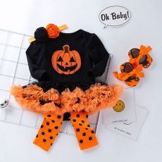 Halloween Baby Girl Clothing for Kids Romper Cotton Long Sleeve Toddler Pumpkin Jumpsuit Tutu Dress Costumes 2020 Popular
