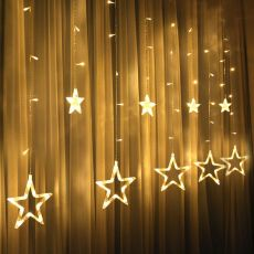 3.5M 220V LED Moon Star Lamp Christmas Garland String Lights Fairy Curtain Light For New Year Party Bar Wedding Holiday Decor