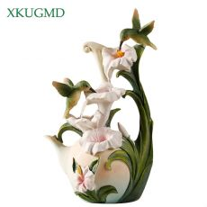 Hummingbird Flowing Water Decoration Home Living Room Desktop Resin Ornament Office Small-scale Waterfall Craft Gift