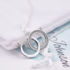 New 925 Sterling Silver Necklace Two Interlocking Logo Circles With Crystal Necklace For Women Wedding Gift Diy Europe Jewelry