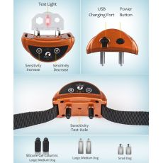 Safe Automatic Dog Bark Collar Pet Training Collar Rechargeable Barking Stop Collar 2 Modes Sound Static Shock 45 Days Work Time
