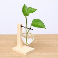 Wooden Frame Clear Glass Vase Heart Shape Hydroponic Plant Vase Flower Pot Table Desktop Bonsai Bud Vase Home Decoration