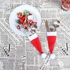 #25 Christmas DecorChristmas Decorative tableware Caps Cutlery Holder Knife Fork Set Spoon Pocket Christmas Decor Bag 6x15cm