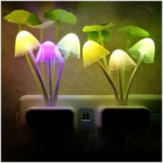 Night Light 7 Color Changing Dusk To Dawn Sensor LED Night Lights Flower Mushroom Lamp Bedroom Babyroom Lamps For Kids Gifts