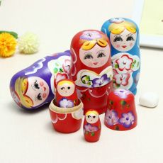 Lovely Russian Nesting Matryoshka 5-Piece Wooden Doll Set Wooden Doll Hand Painted Doll Toy