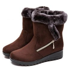 Women Boots Faux Suede Winter Boots Shoes Woman Wedges Heels Snow Boots  Mid Calf Winter Shoes Female Booties