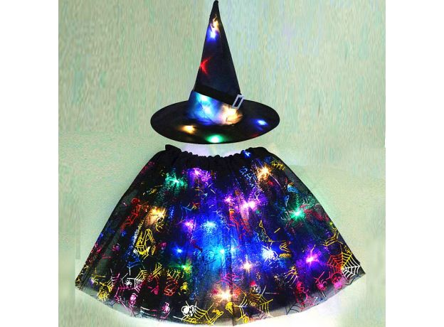 LED Glowing Lights Witch Hat Spider Web Cobweb Skirt Halloween Costume for Kids Girls Wizard Cosplay Props Party Fancy Decor